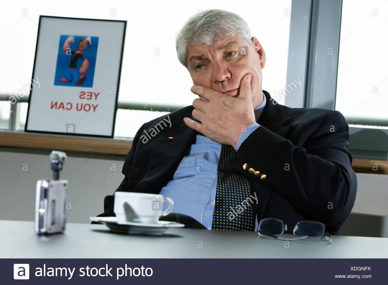 Michael Sommer, Vorsitzender des DGB, in Interview, Berlin, Deutschland, Europa Stockbild