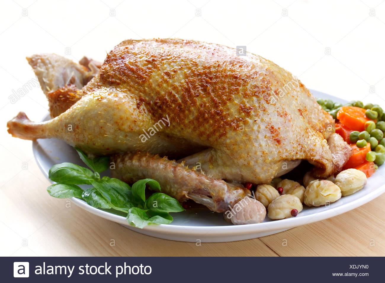 Braten Weihnachten.Ente Geflügel Silvester Bankett Gebratene Ente Braten Braten