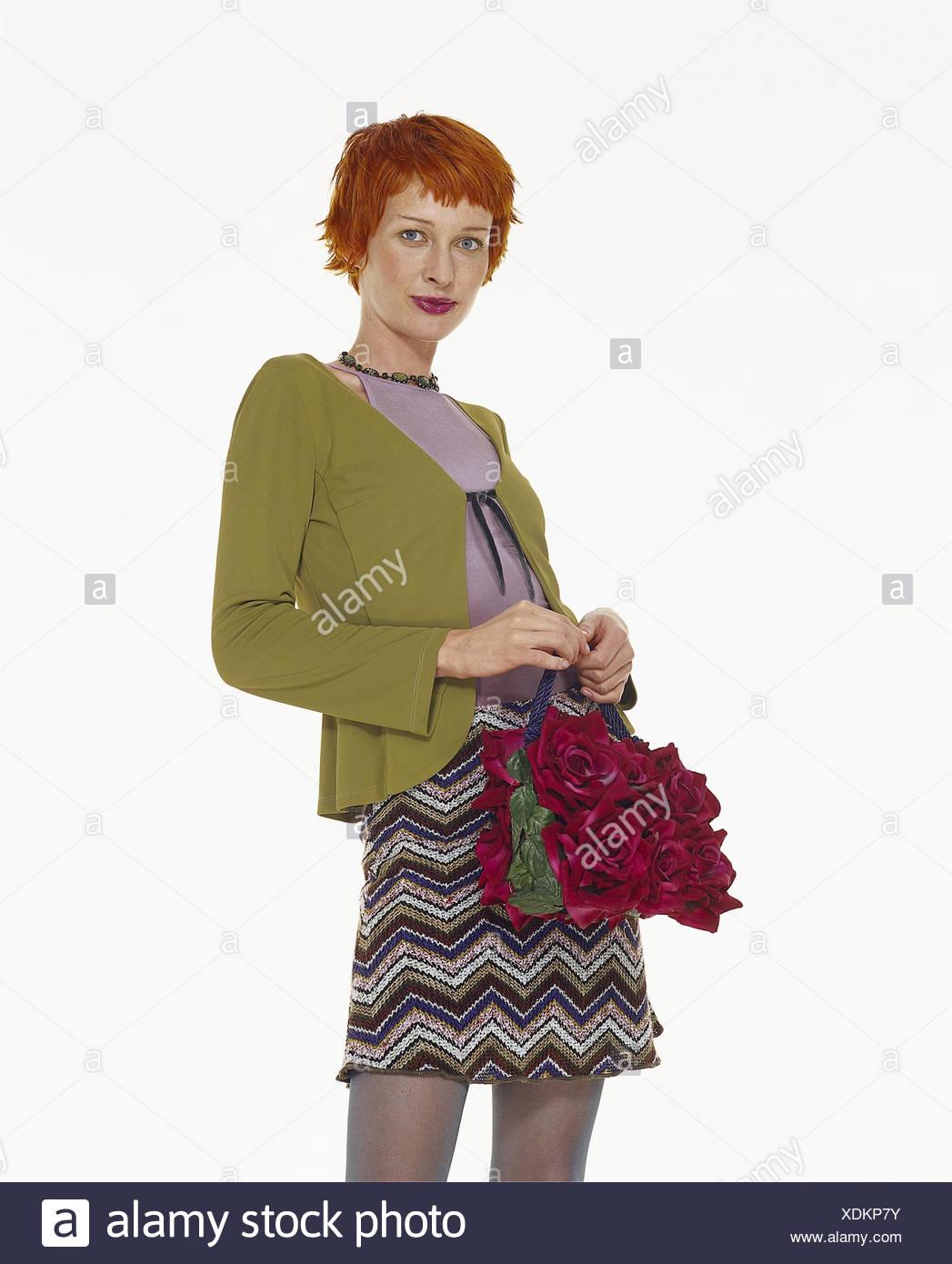 Frau Jung Haare Rot Minirock Handtasche Frauen Rothaarige
