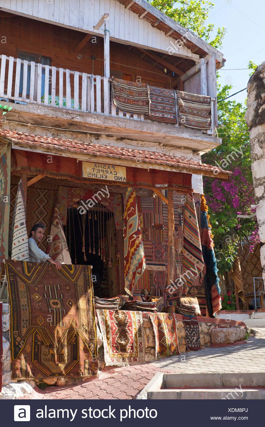 Türkische Riviera, Teppich-Händler, Uecagiz, Lykien, Südküste, Türkei, Teppiche, Wandbehänge, Stockbild