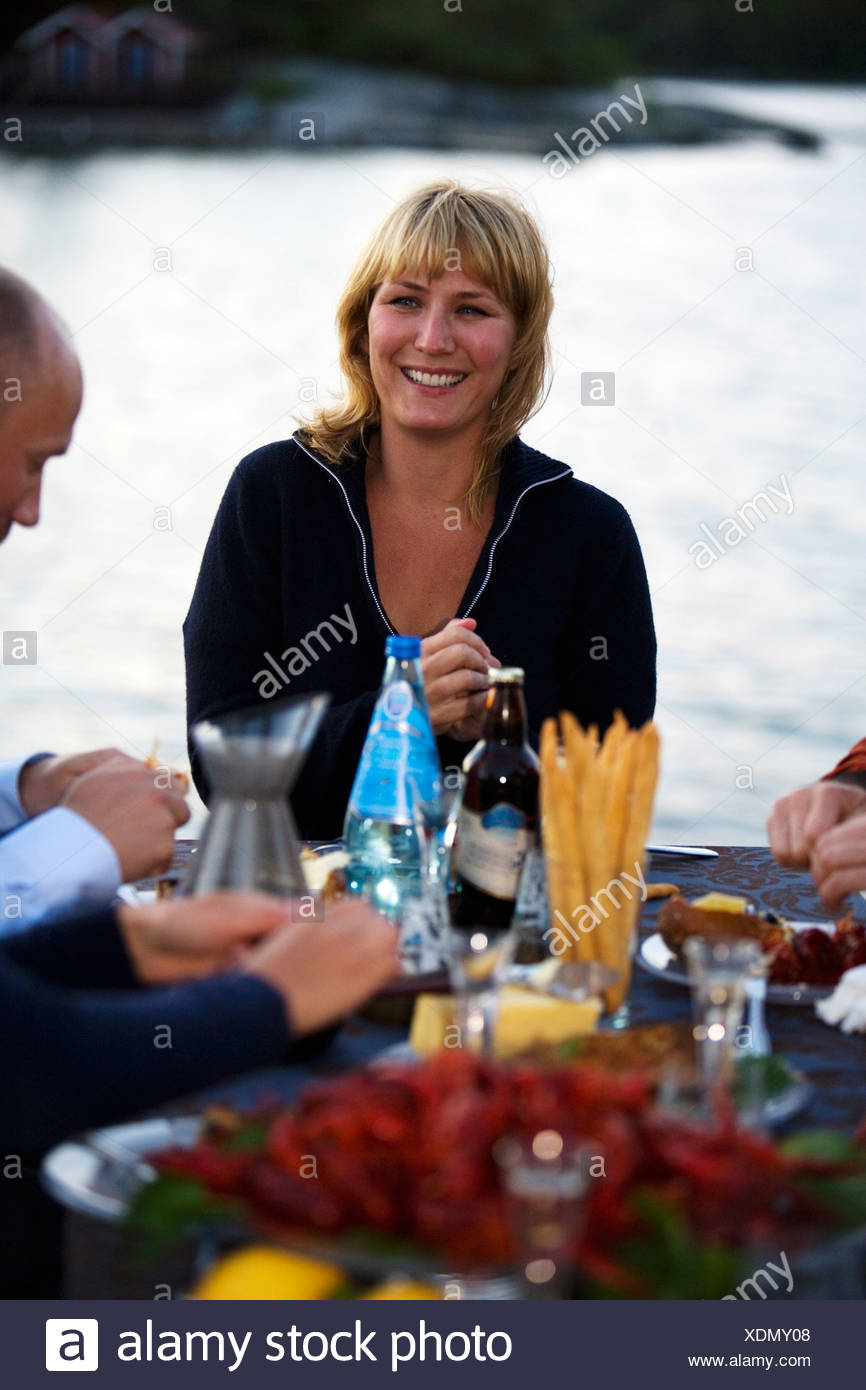 Krebse Partei, Fejan, Stockholmer Schären, Schweden. Stockfoto