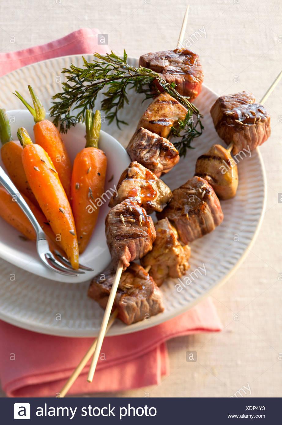 Rump Steak-Spieße Stockbild