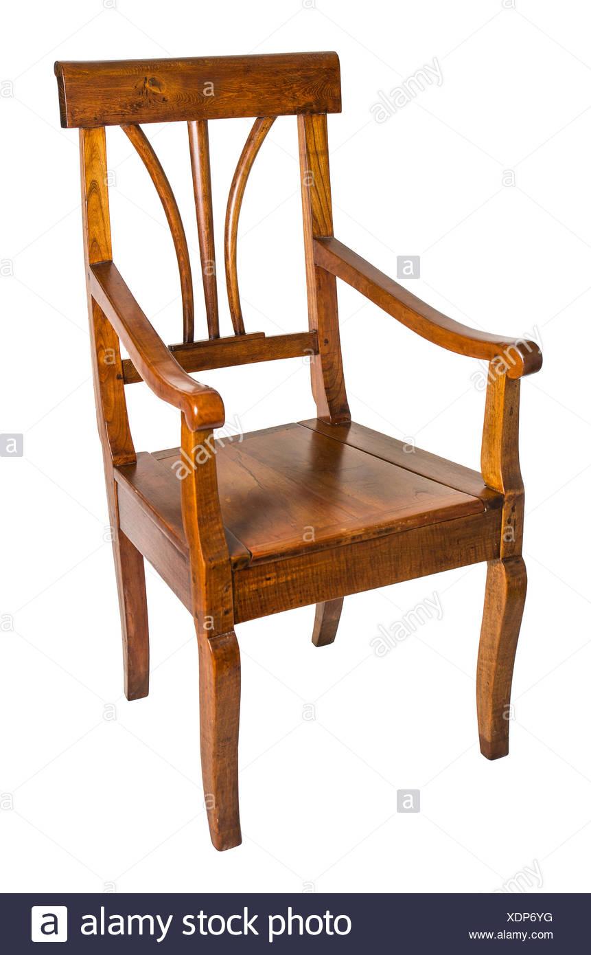 Möbel Holz Antiquität Kirschbaum Sessel Isoliert Optional