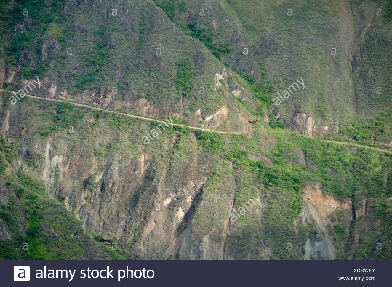 Straße, üppigen, Fernbedienung, Anden, Berge, Canyons, Pasto, Anden Berge, Kolumbien, Südamerika Stockbild
