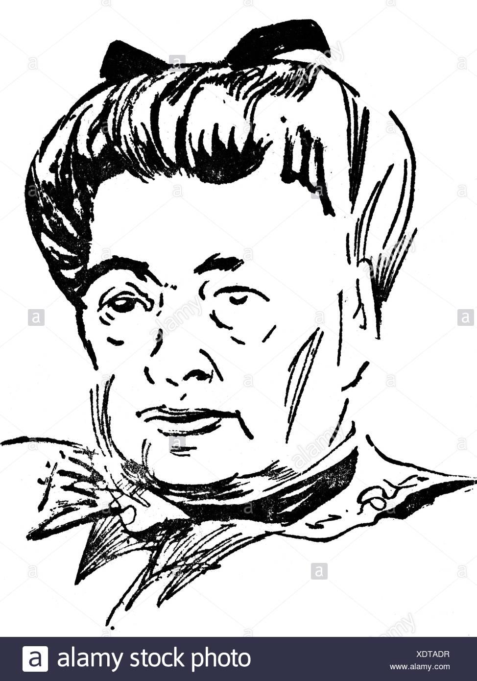 Suttner, Bertha-von-, 9.6.1843 - 21.6.1914, österreichische Pazifistin und Schriftstellerin, Portrait, Zeichnung von Conny, 1948, Additional-Rights-Spiel-NA Stockbild