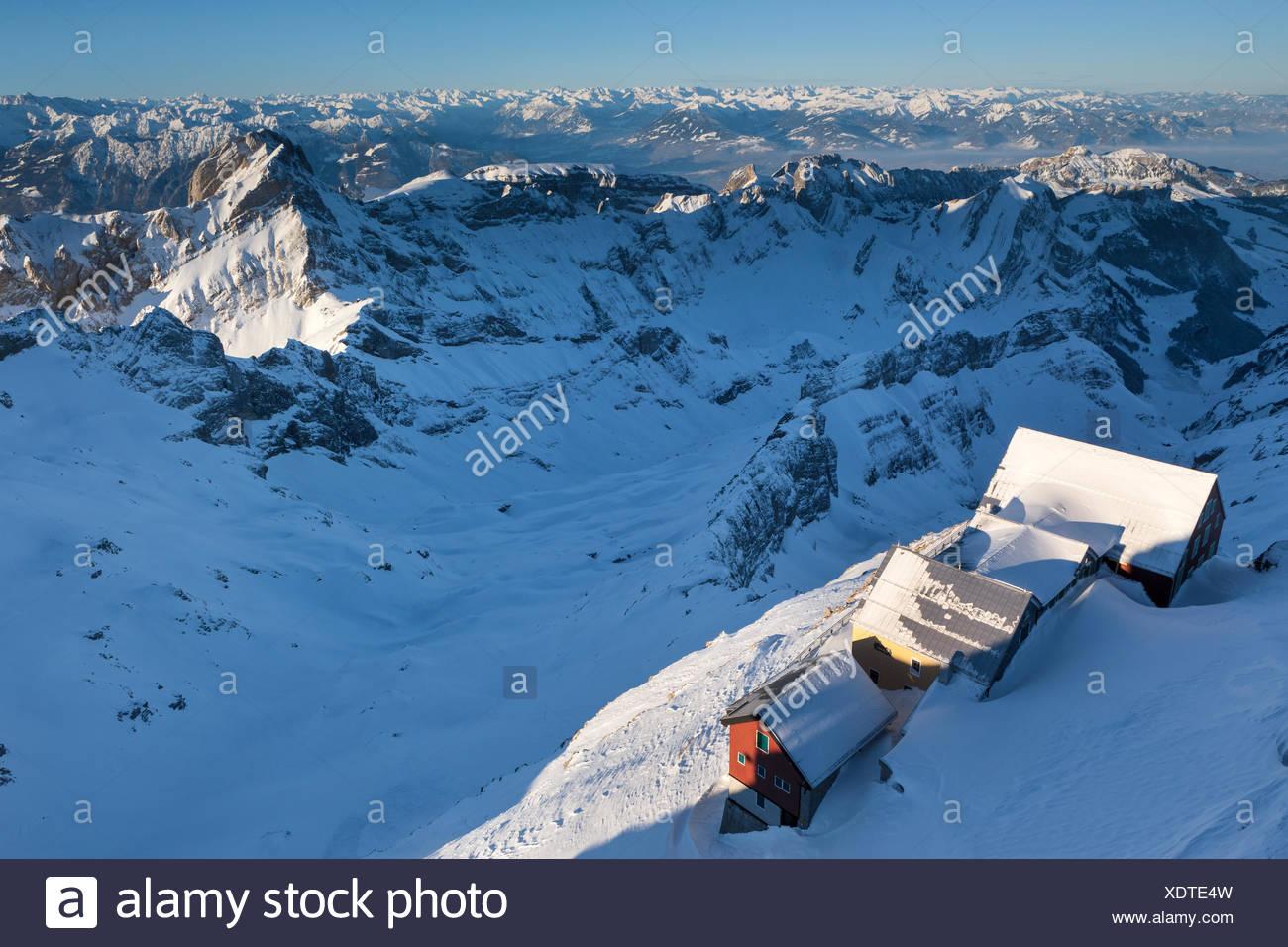 Ansicht, Vista, Säntis, Schweiz, Kanton Appenzell, Appenzell Innerrhoden, Alpstein, Inn, Alter Säntis, Winter, Abendlicht Stockbild