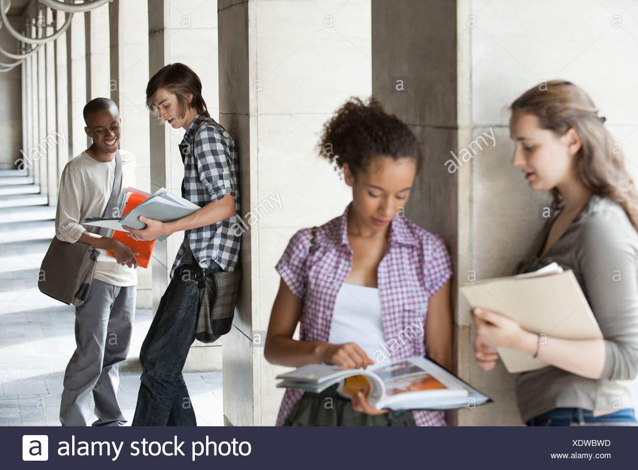 Studierende diskutieren Hausaufgaben, Fokus auf Männer im Hintergrund Stockbild
