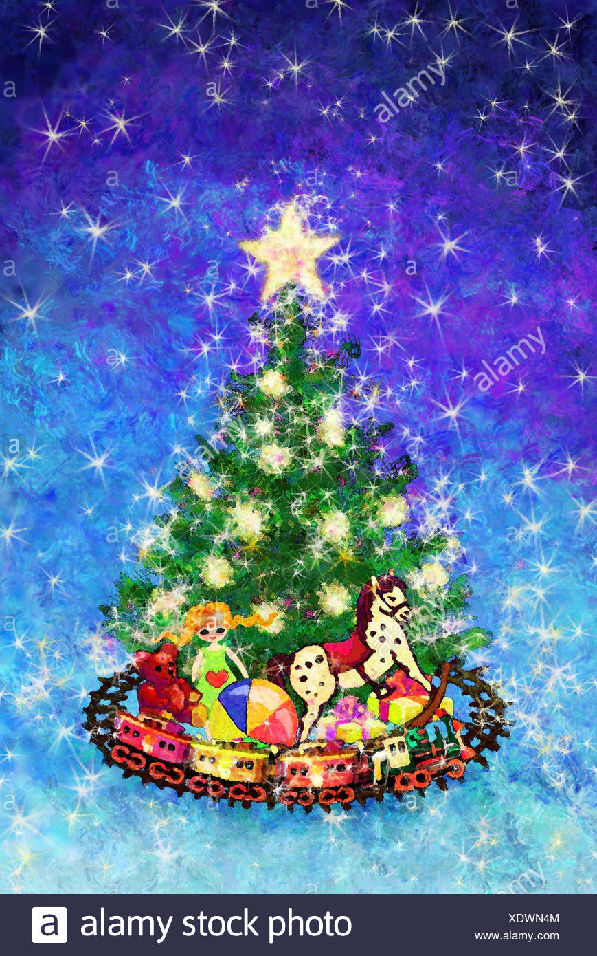 Illustration, Weihnachten, Weihnachtsbaum, Geschenke, Spielzeug ...