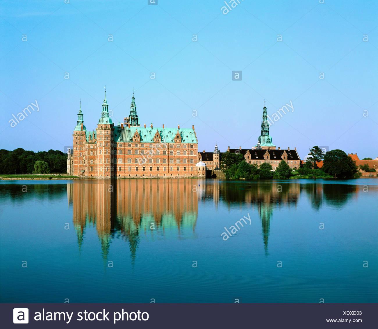 Dänemark Europa Hillerod Renaissance Schloss Schloss Frederiksborg Wasserburg Stockbild