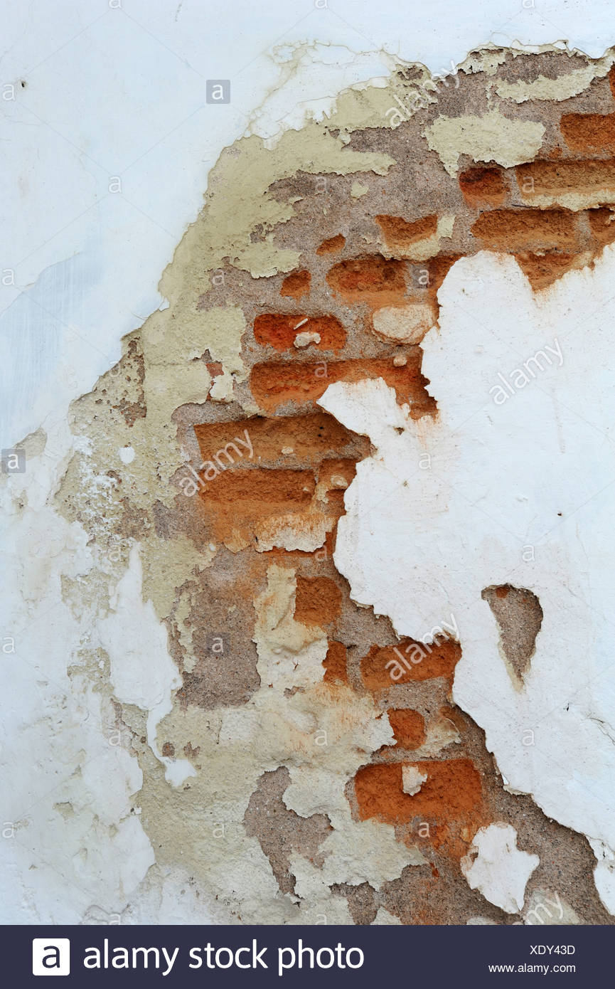 Ziegel, Wand, Putz, Wand, Schäden, bröckeln, Flocke, renovieren, Konzepte, Plan, alte Stockbild
