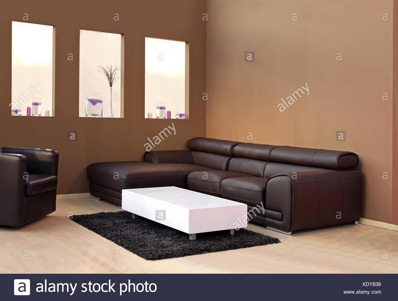 Große Braune Ledercouch Im Modernen Interieur Stockfoto