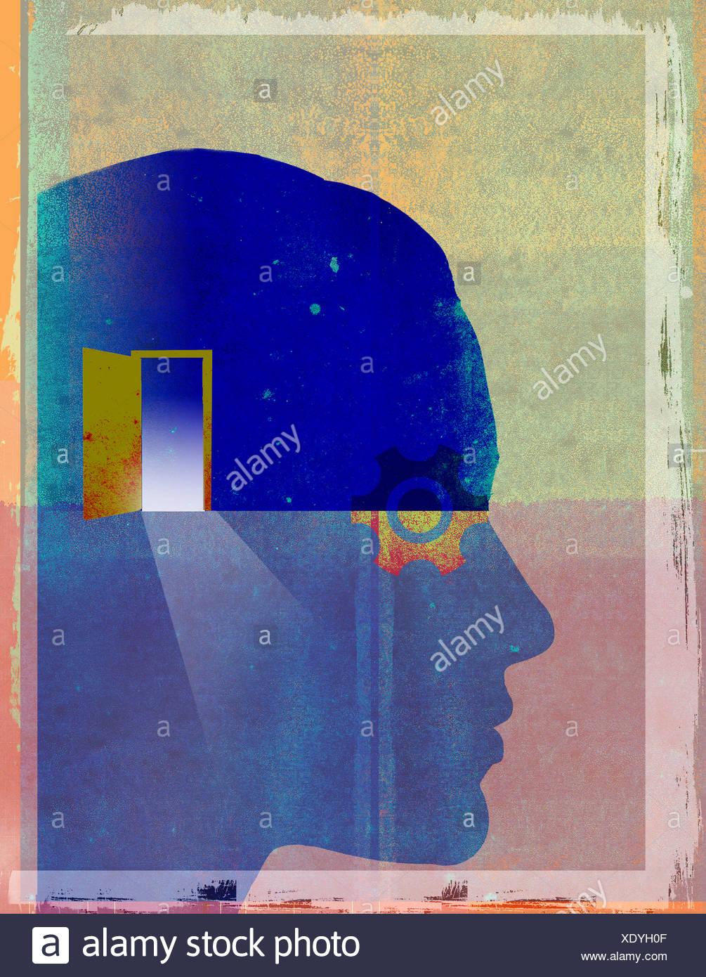 Offene Tür und Rädchen im Inneren Männerkopf Stockbild