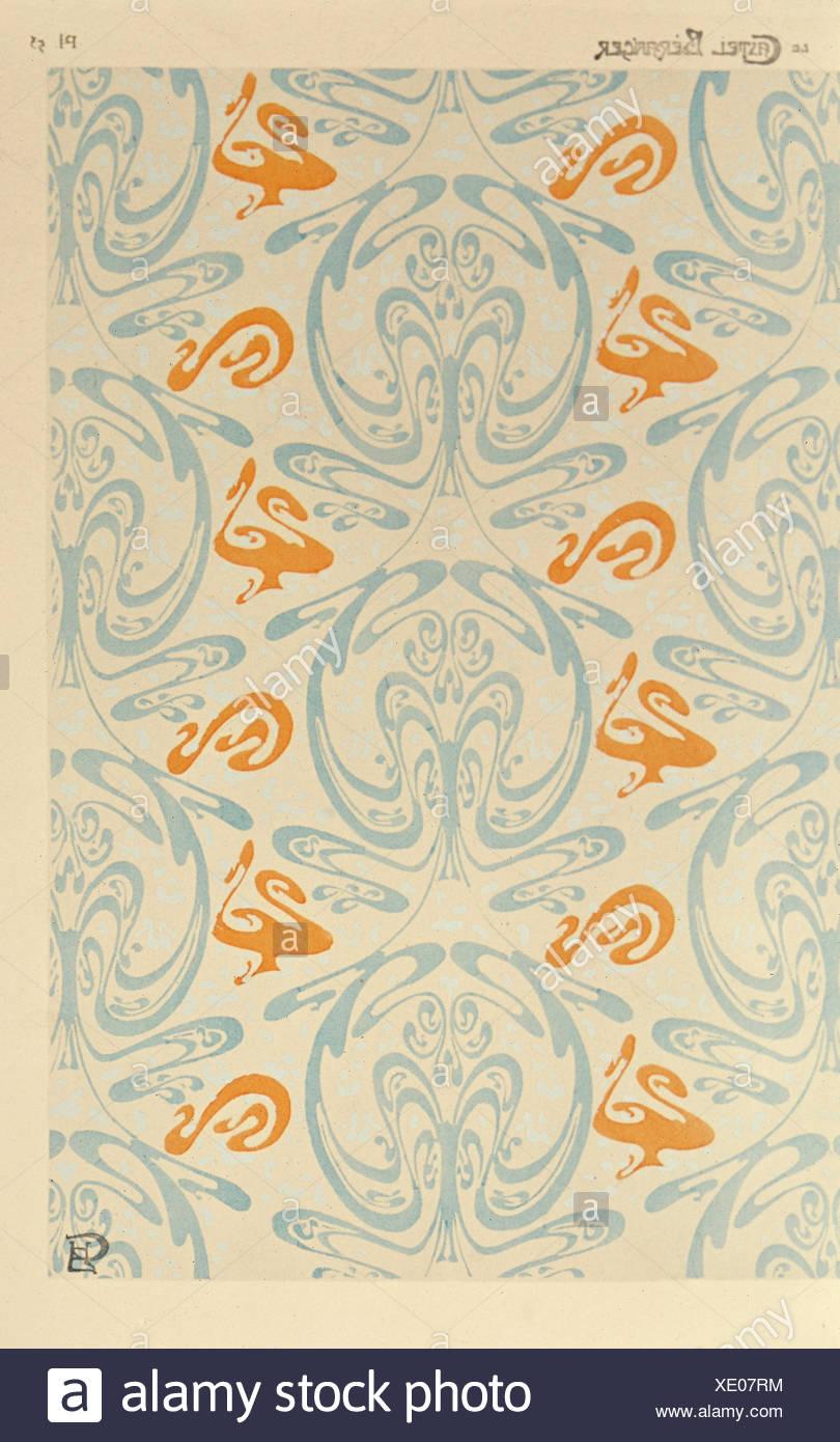 """Bildende Kunst, Guimard, Hector (1867 - 1942), Wallpaper, Design für """"Castel Béranger' Paris, Ende des 19. Jahrhunderts, neue Sammlung, München, Deutschland, Artist's Urheberrecht nicht gelöscht werden Stockbild"""