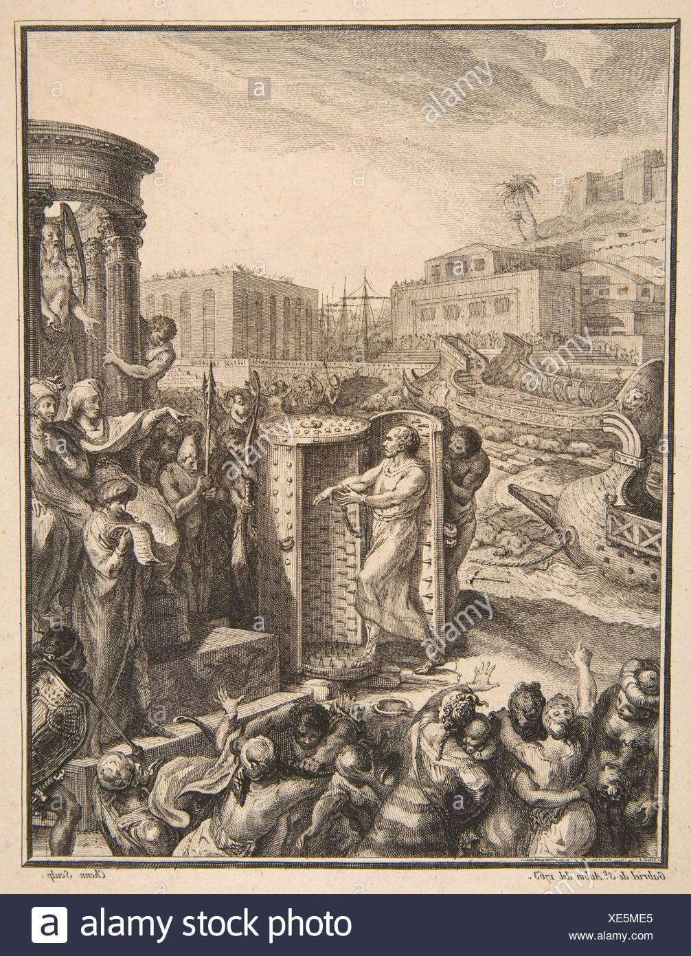 Regulus an die schreckliche Folter verurteilt. Artist: Nach Gabriel de Saint-Aubin (Französisch, Paris 1724-1780 Paris); Künstler: Pierre Chenu (Französisch, Stockbild