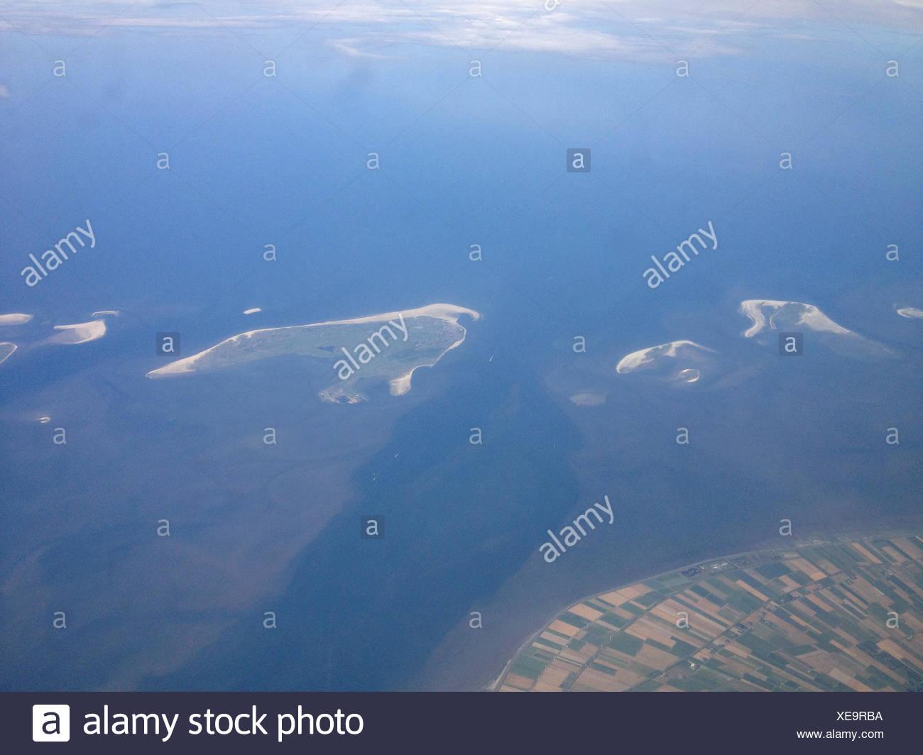 Dänemark, Sand Wohnungen und landwirtschaftlichen Küste Stockbild