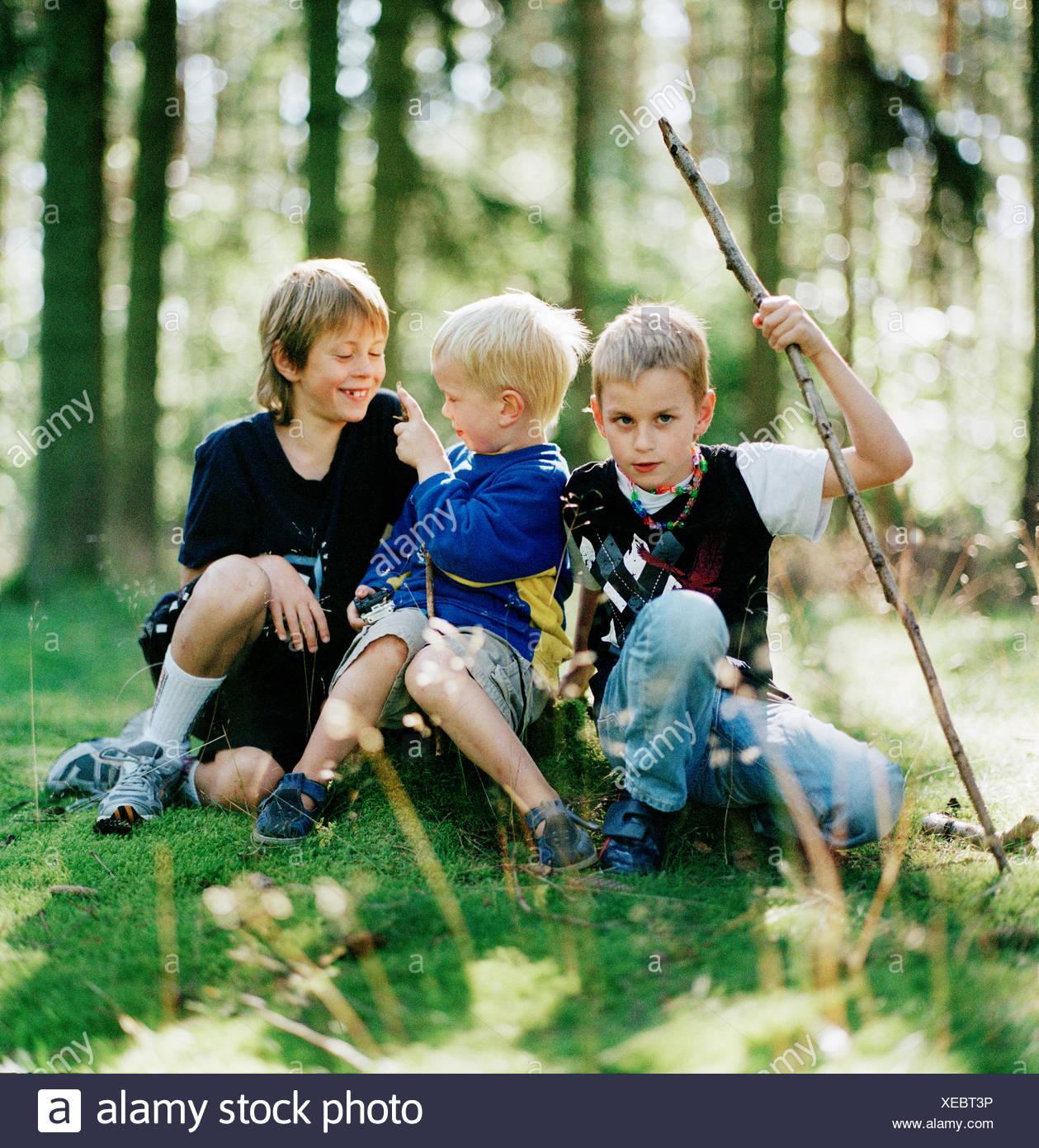 Jungs spielen in einem Wald, Schweden. Stockbild