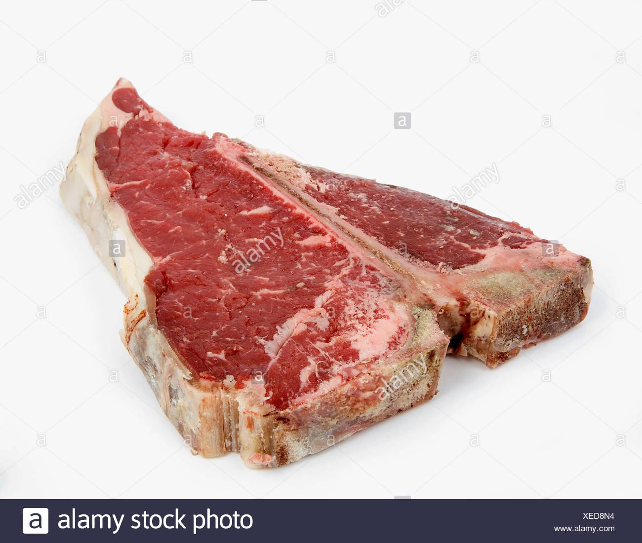 T-Bone Steak auf weißen Hintergrund Stockbild