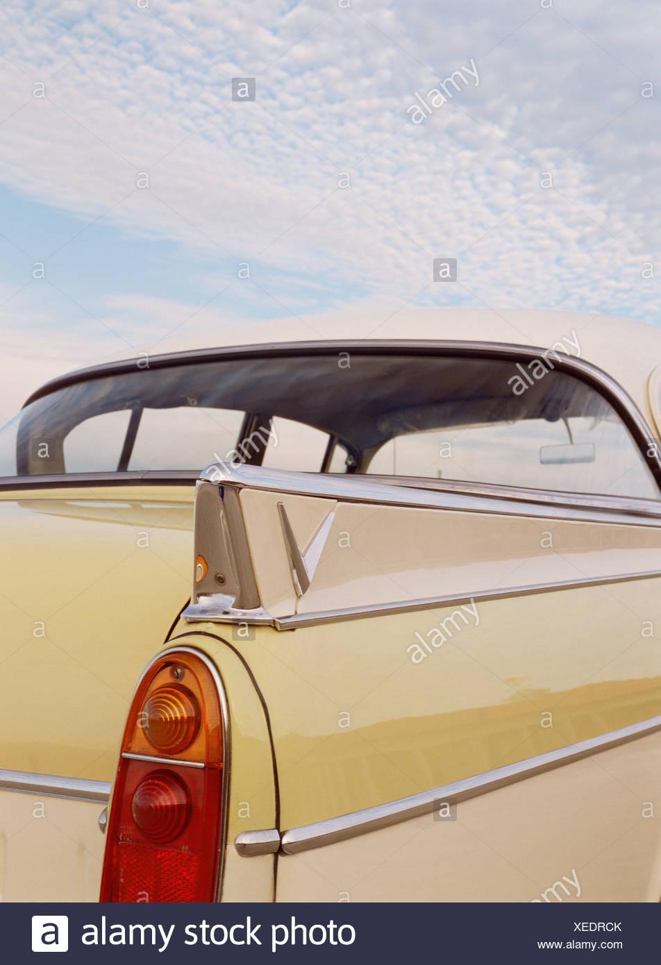 Transport. Straßenfahrzeuge. Jahrgang. classic car. 1950. Vauxhall Cresta. britischen. close-up des hinteren Kotflügels. Stockbild