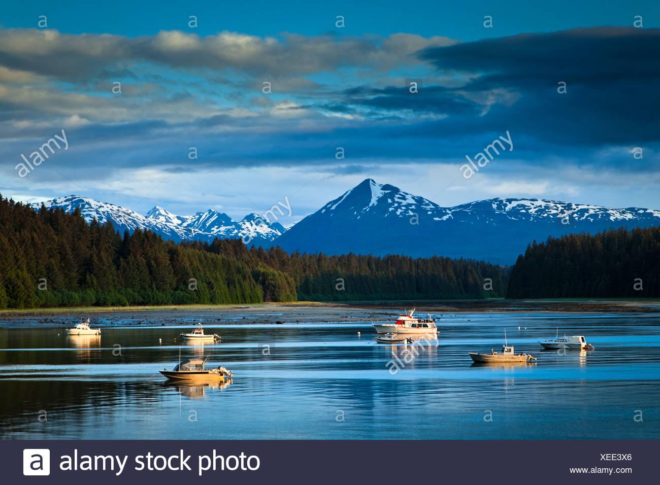 Schönen Abend Blick auf Bartlett Cove und vertäuten Fischerbooten, Glacier Bay Nationalpark & Preserve, südöstlichen Alaska, Sommer Stockbild