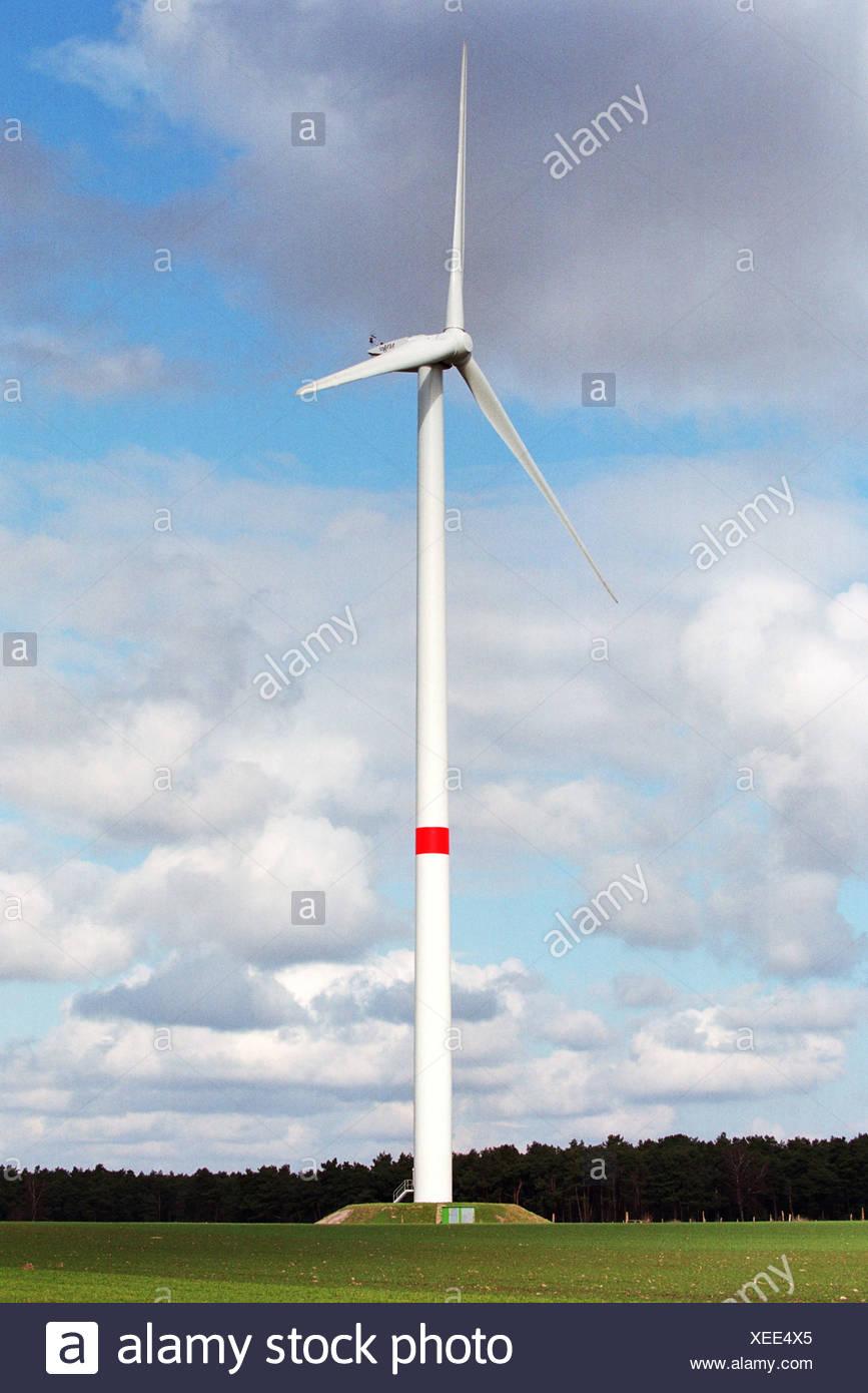 Windgenerator auf einer Wiese, Norddeutschland Stockbild
