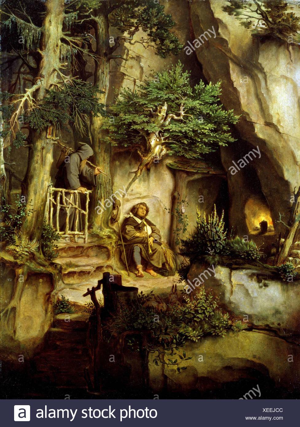 """ÜF, Kunst, Schwind, Moritz von (1804-1871), Gemälde, """"Ein Spielmann Bei Einem Einsiedler"""", Öl Auf Pappe, um 1846, Neue Pinak Stockbild"""
