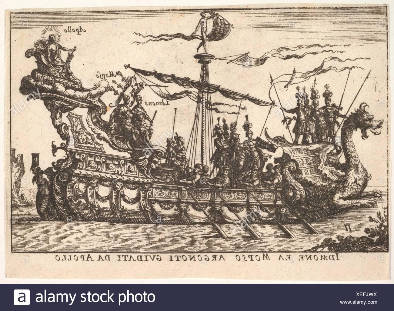 """Platte11: Idmon und Mopsus geleitet von Apollo (Idmone ea Mopso Argonoti guidati da Apollo), mit einem Heiligenschein um Apollo's Kopf, aus der Serie """"Die Stockbild"""