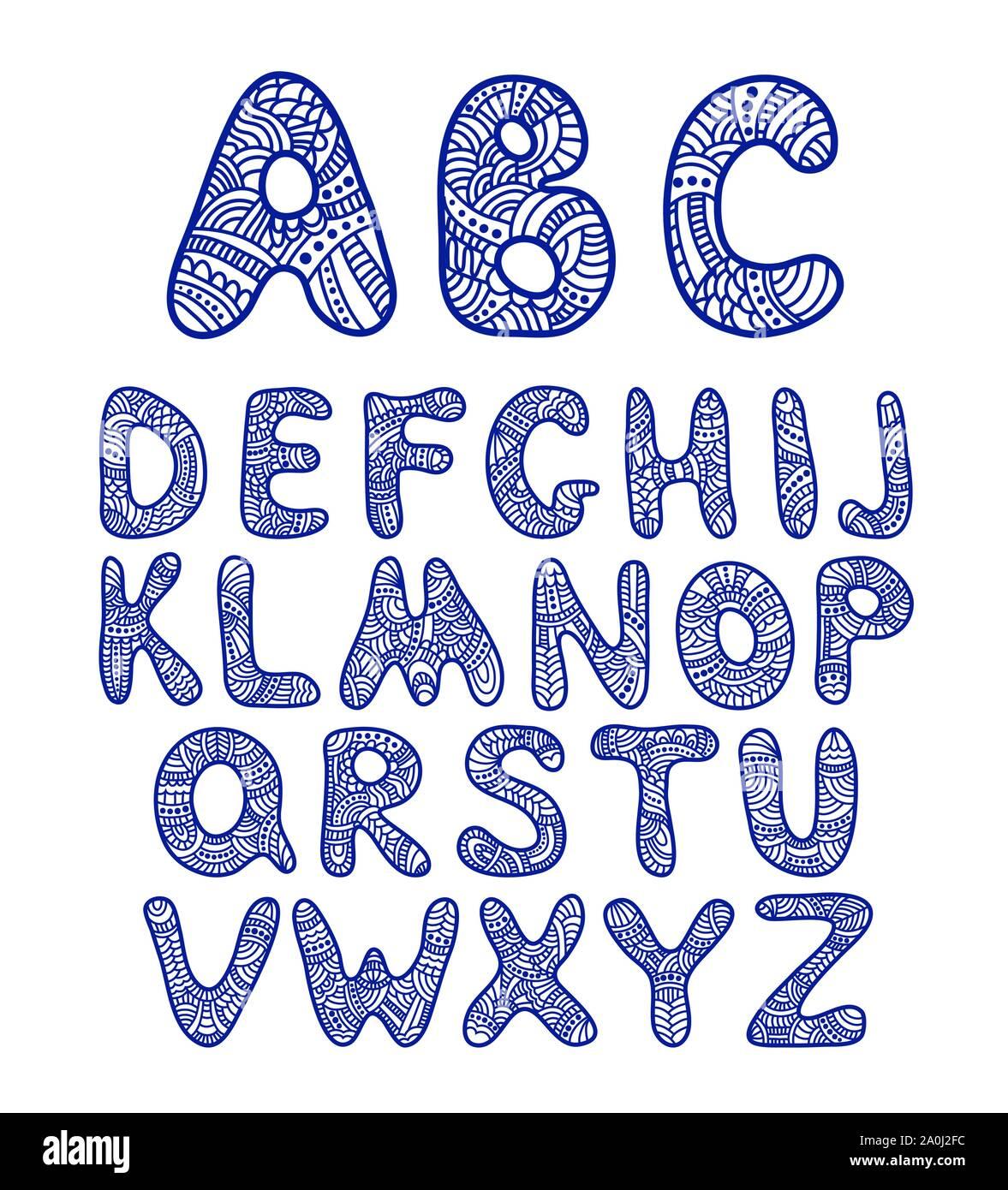 Doodle dibujadas a mano funny alphabet Ilustración del Vector