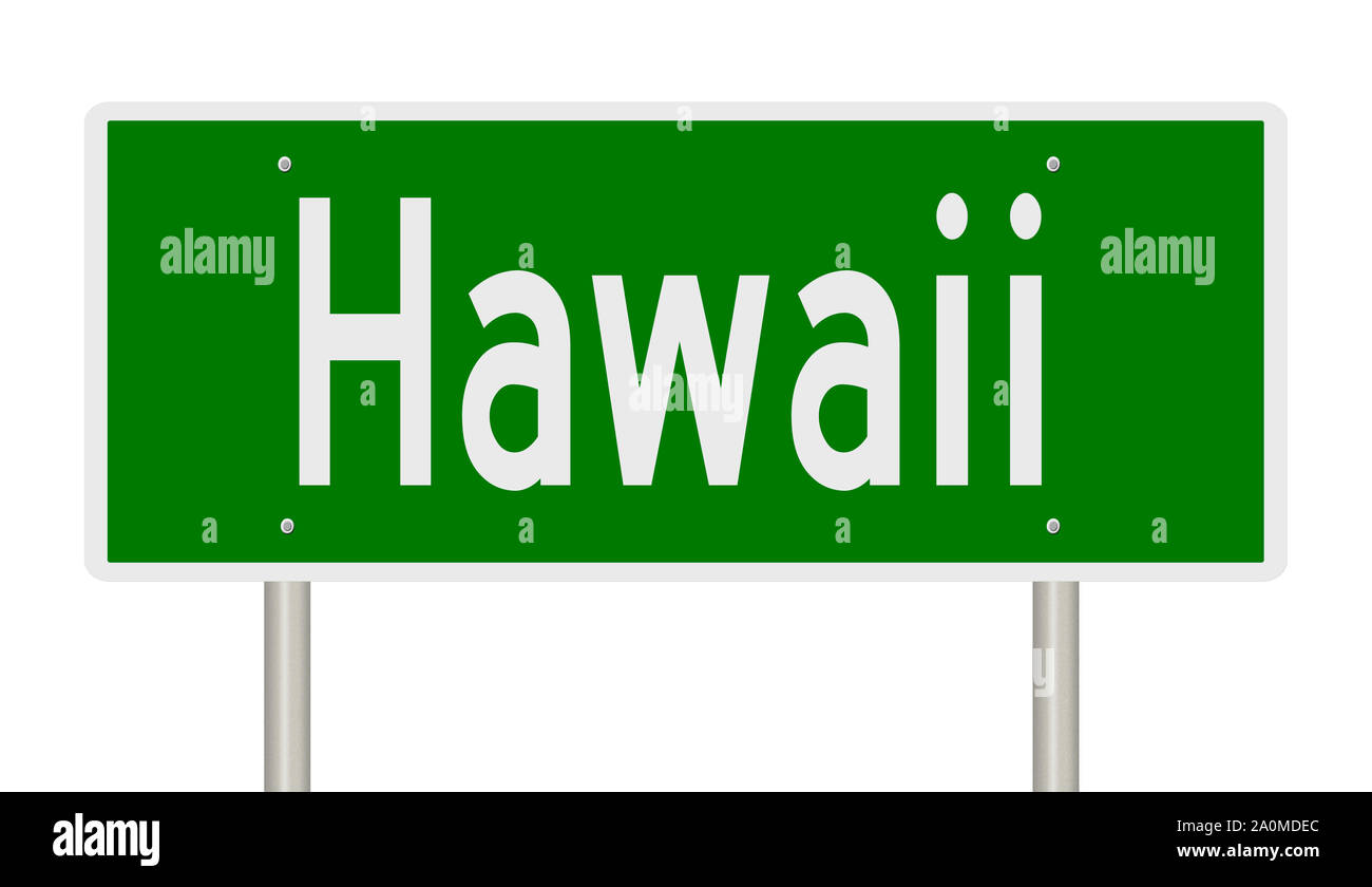Representación de una señal de carretera verde para Hawaii Foto de stock