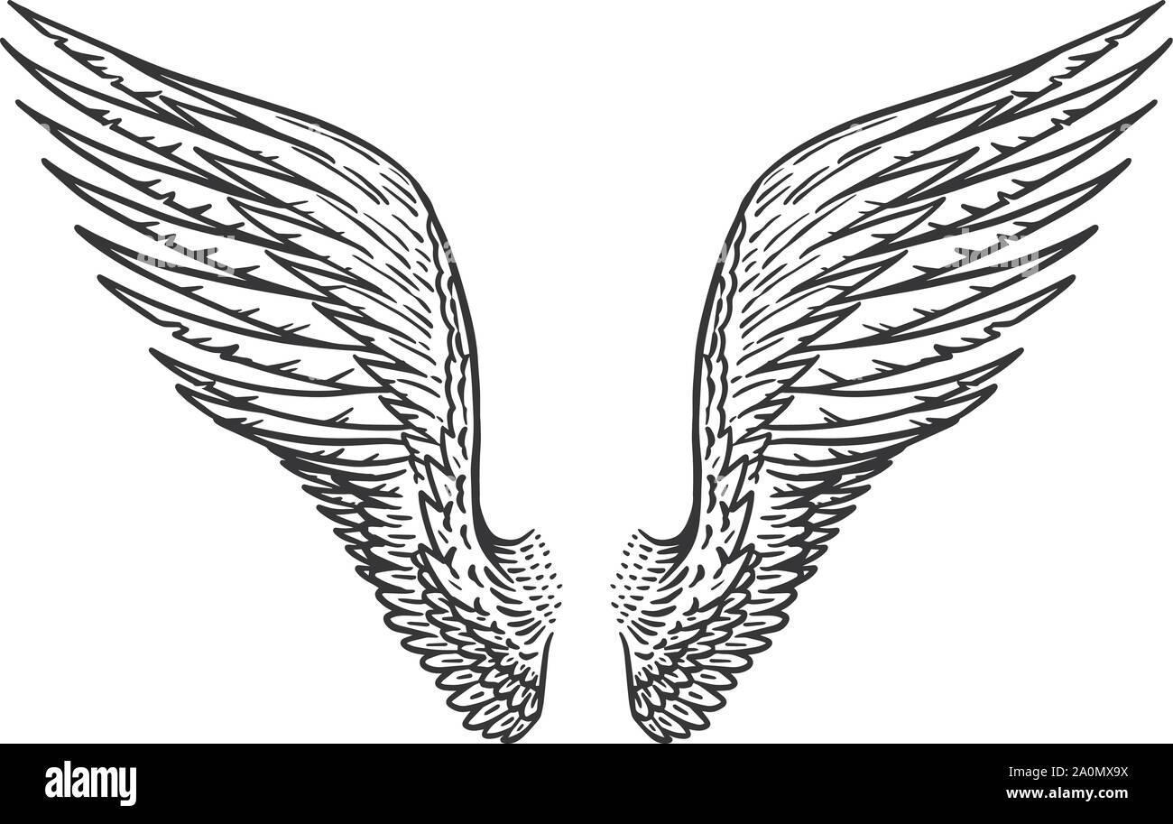 Bocetos De Tatuajes Tradicionales Ángel ala en estilo vintage. plantilla para tatuaje y