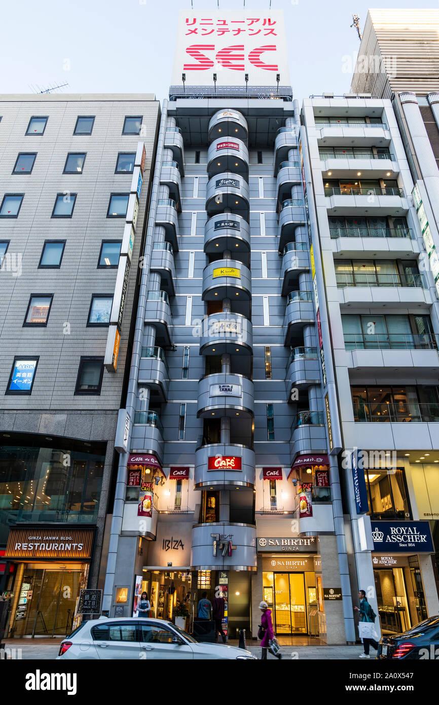 Tokio. SA Nacimiento Ginza tienda de Diamantes, con el showroom de Ginza bolsa interna para Ibiza, productor, y el Cafe de Ginza, Miyuji-kan en el piso de arriba. Foto de stock