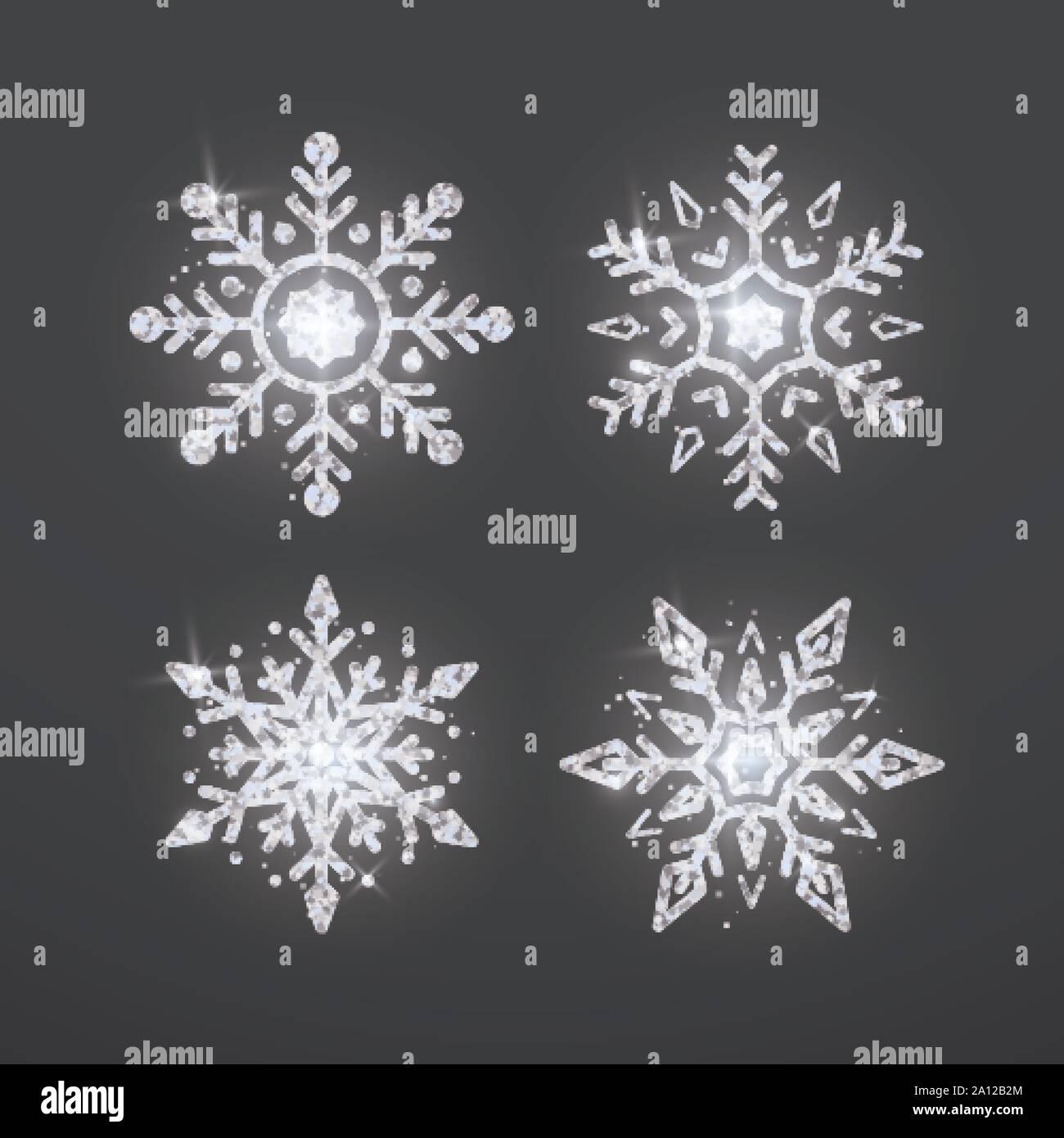Copo De Nieve De Plata Decoración De Navidad Y Año Nuevo