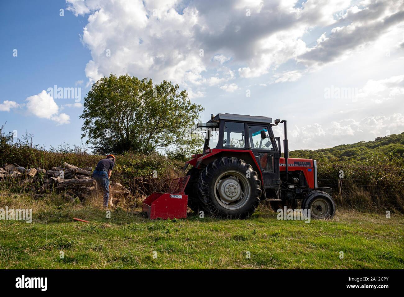 Tractor, moderno, agricultura, Rojo, Retail, equipo agrícola, terreno agrícola, maquinaria agrícola, empresarial, Imagen en color, terrenos comerciales Foto de stock