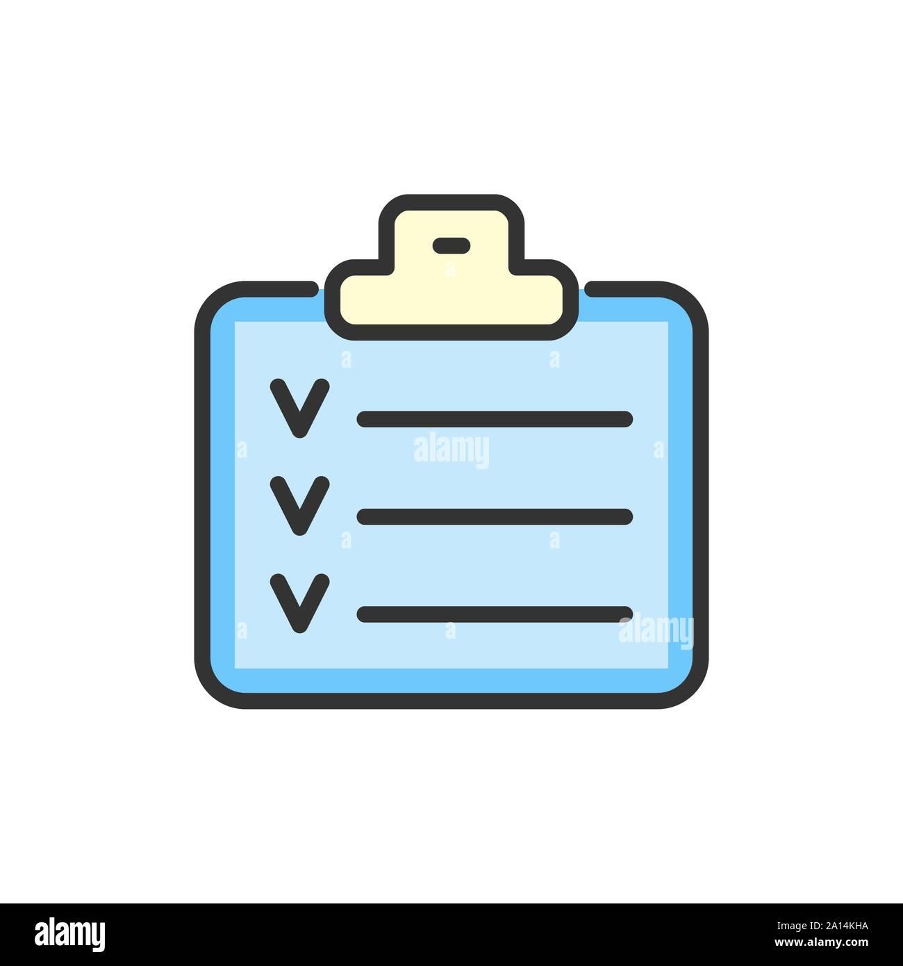 Lista de control de vectores, planificador, calendario, bloc de notas de color plana icono de línea. Ilustración del Vector