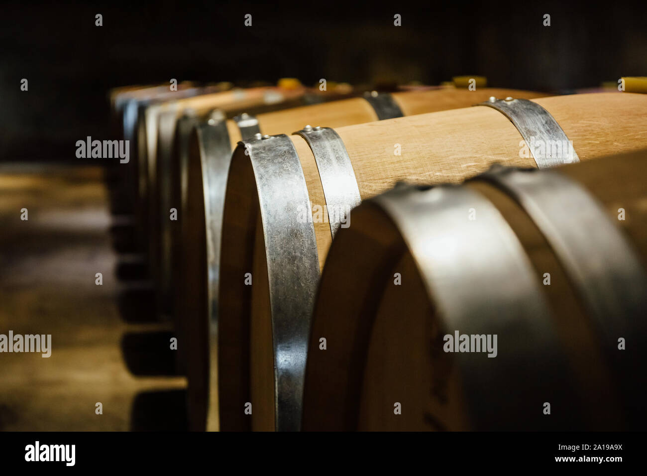 Alineado barriles de vino en una bodega Foto de stock