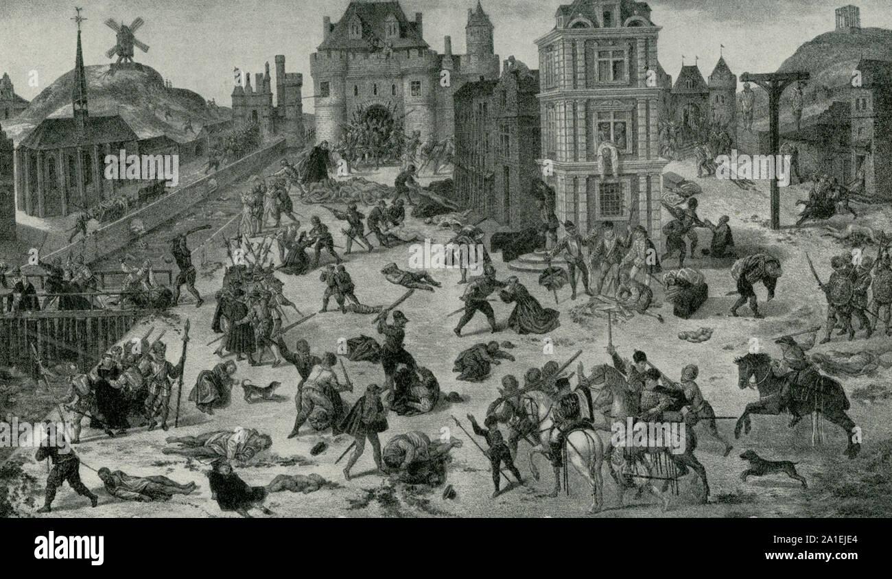 Esta imagen es una pintura por Francois Dubois, y describe la Bartolomé día masacre. La masacre en París en agosto 24/25 en 1572 era un grupo objetivo de asesinatos y una ola de violencia callejera católica, dirigida contra los hugonotes durante las guerras francesas de la religión. Foto de stock