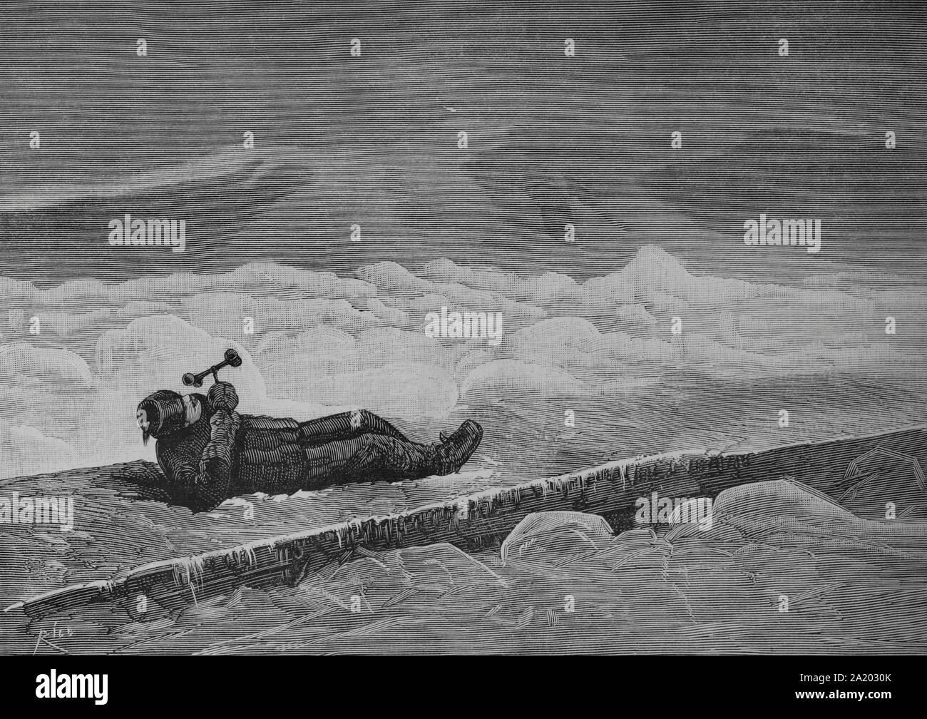 """Estados Unidos de América. Nuevo Hampshire. Estación meteorológica del """"montaña de Washington"""". Observador de la onu apreciando la velocidad del viento en la meseta de la montaña. Grabado por Bernardo Rico (1825-1894). La Ilustración española y americana, 30 de enero de 1884. Foto de stock"""