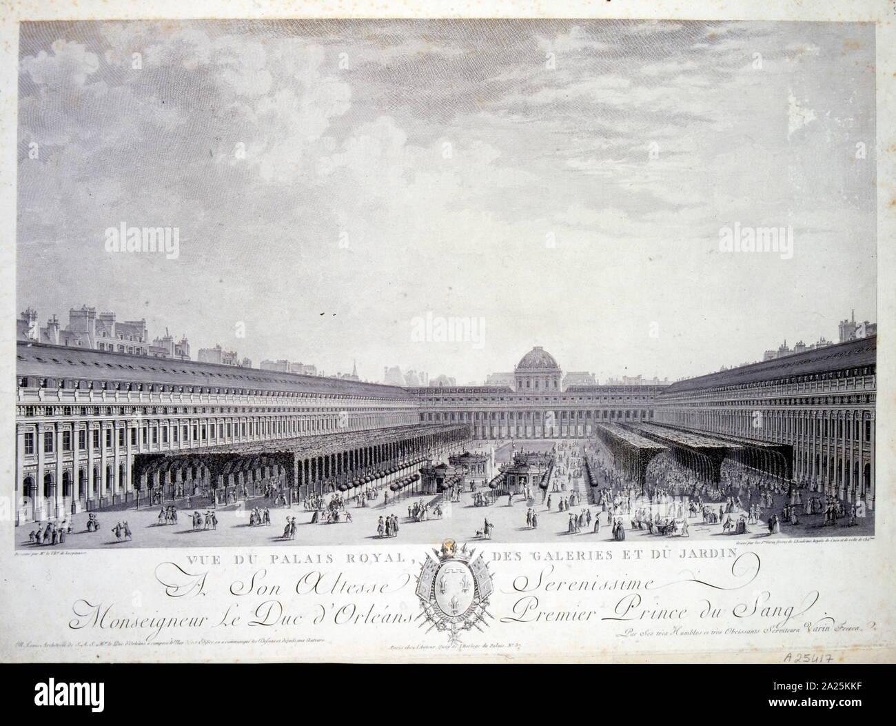 El Palais Royale residencia del Rey Luis XVI en París antes de la Revolución Francesa de 1780 Foto de stock