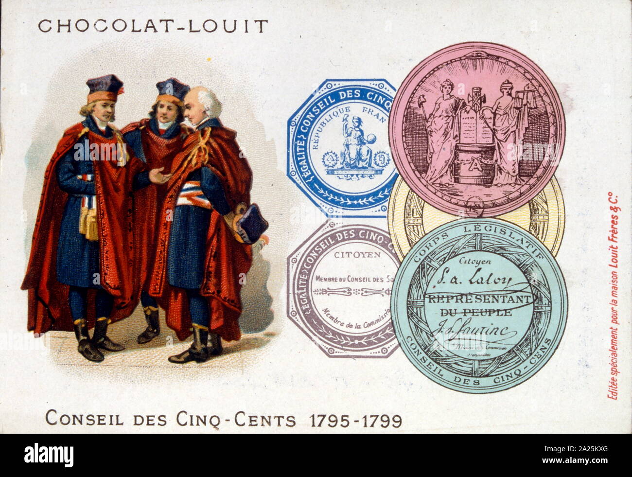 Ilustración representando a los miembros del Consejo de quinientos (Conseil des Cinq-Cents), o simplemente los Quinientos, fue la cámara baja de la asamblea legislativa de Francia en virtud de la Constitución del año III. Existió durante el periodo comúnmente conocido (nombre de la rama ejecutiva durante este tiempo) como el Directorio (Directorio), desde el 26 de octubre de 1795 hasta el 9 de noviembre de 1799 Foto de stock
