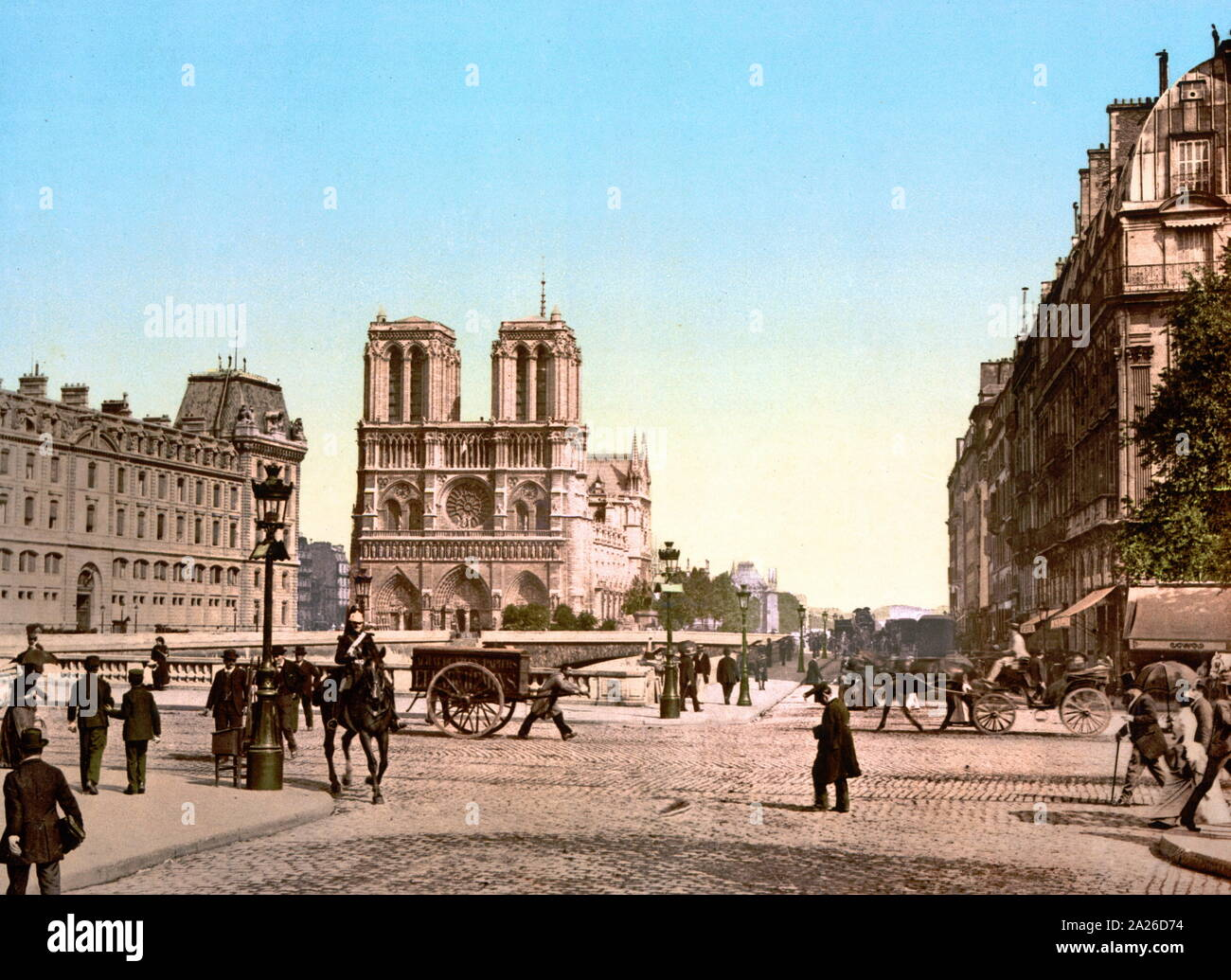 Colourised fotografía de la catedral de Notre Dame en París, Francia 1900 Foto de stock