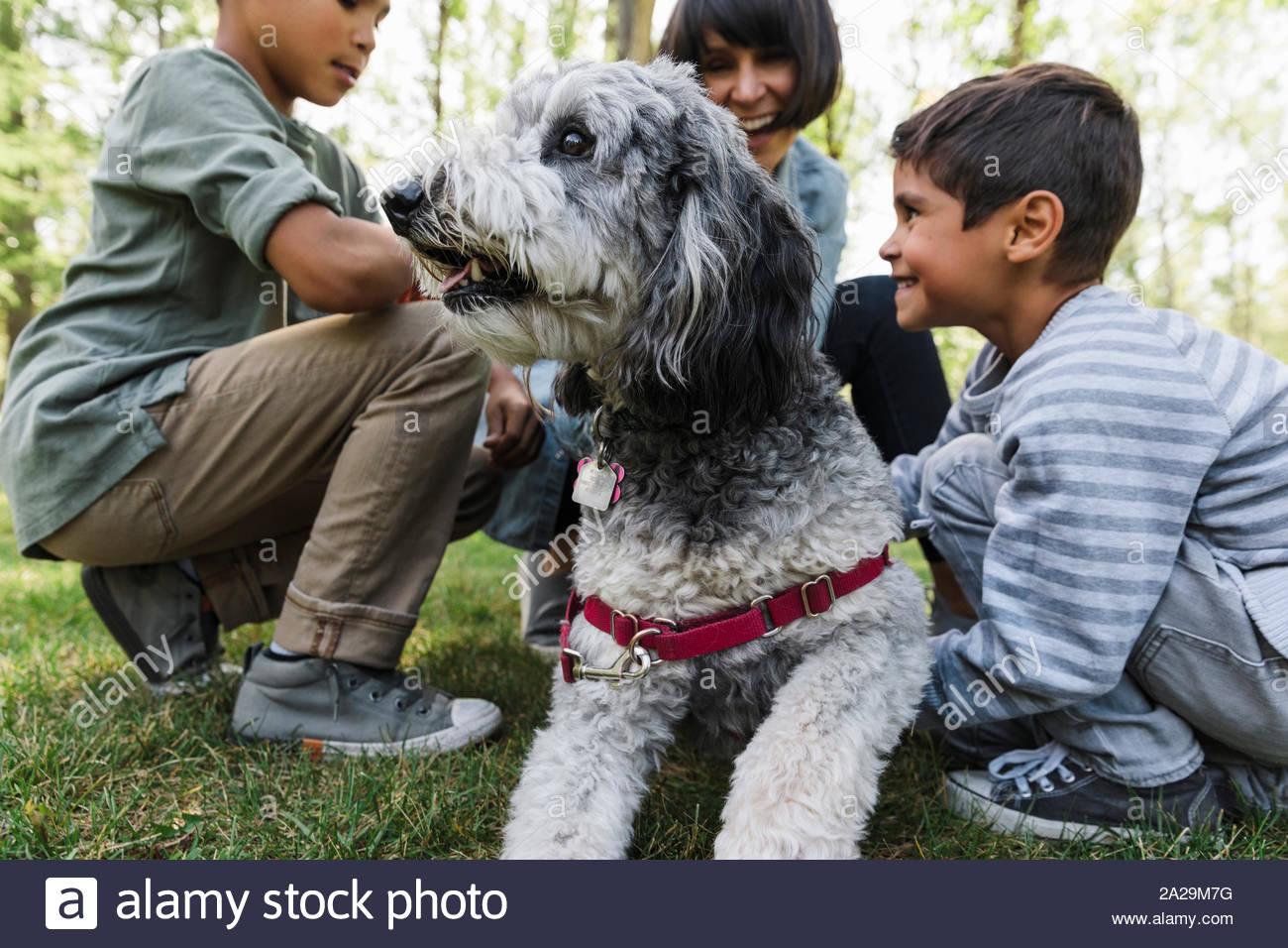 Madre de dos hijos y perro en park Foto de stock