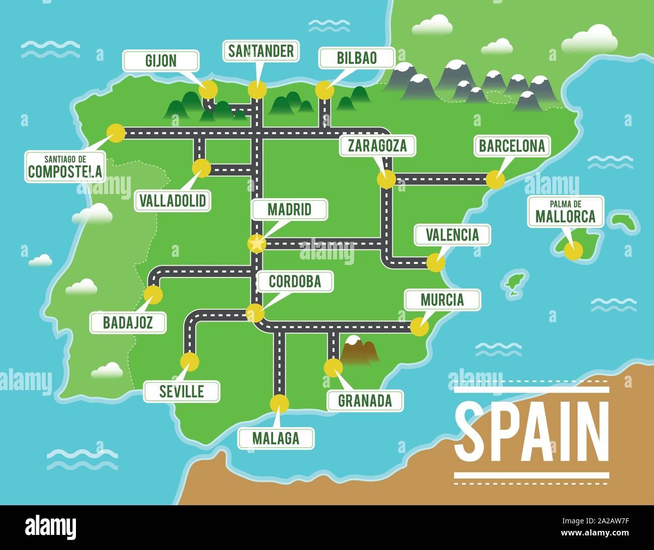 Cartoon Mapa Vectorial De Espana Ilustracion De Viaje Con Las