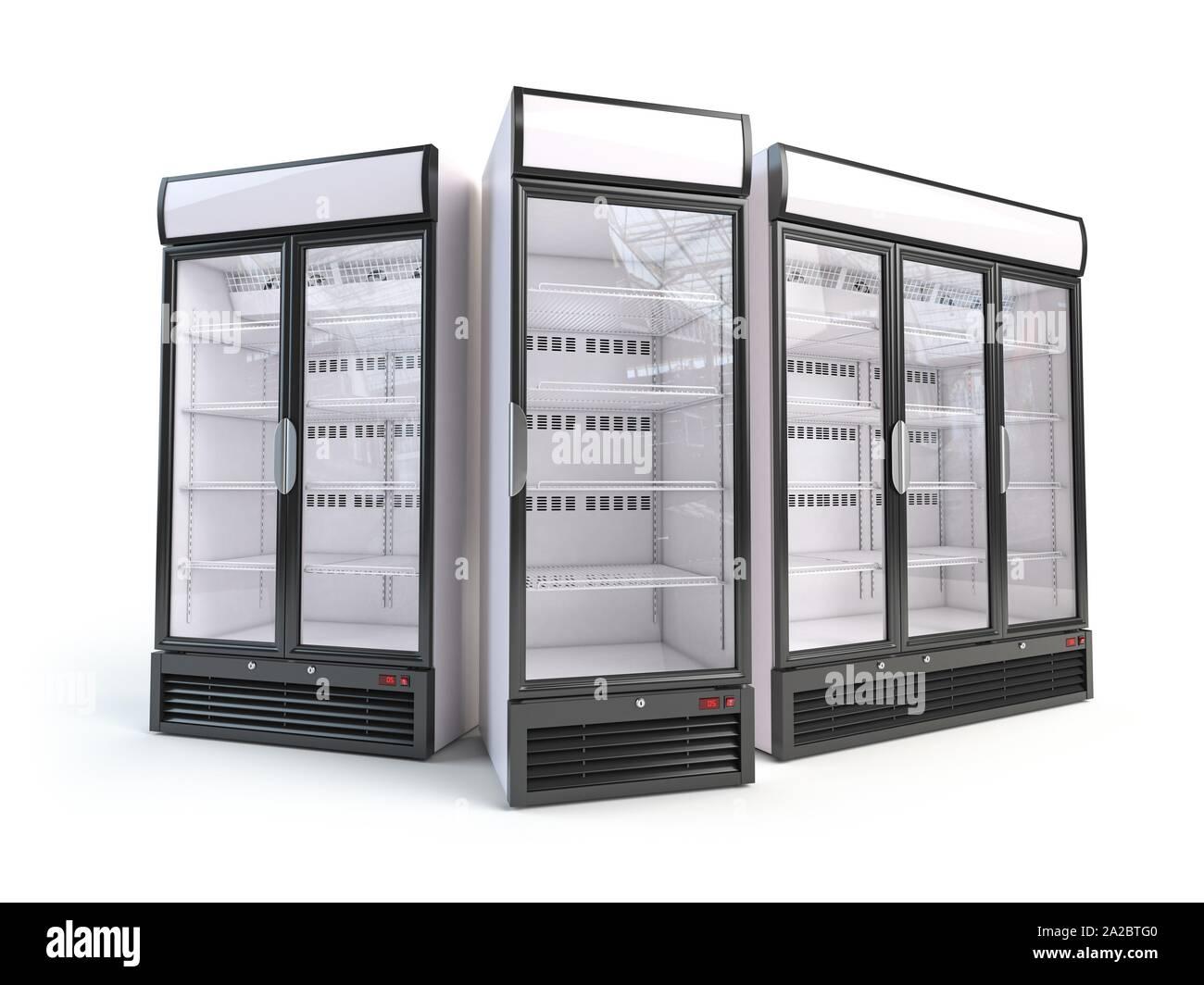 Conjunto de diferentes refrigeradores vitrina vacía. Frigoríficos con puerta de vidrio, aislado en blanco. Ilustración 3d. Foto de stock