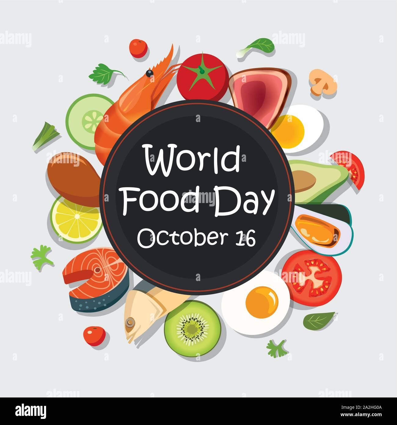Plantilla De Carteles Del Dia Mundial De La Alimentacion Y El Fondo Imagen Vector De Stock Alamy