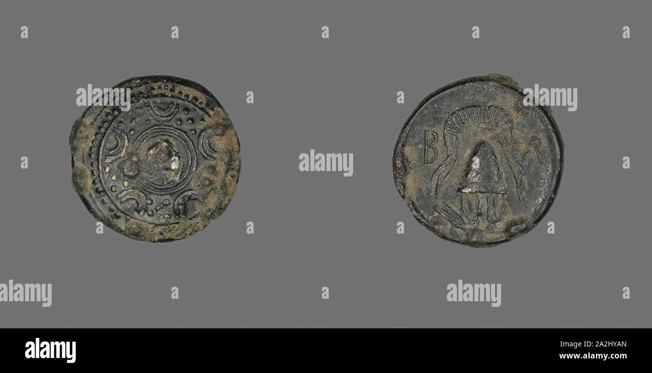Moneda representando a la diosa Artemis, 286/220 BC, Griego, Grecia Antigua, bronce, diam. 1,7 cm, 4 g Foto de stock