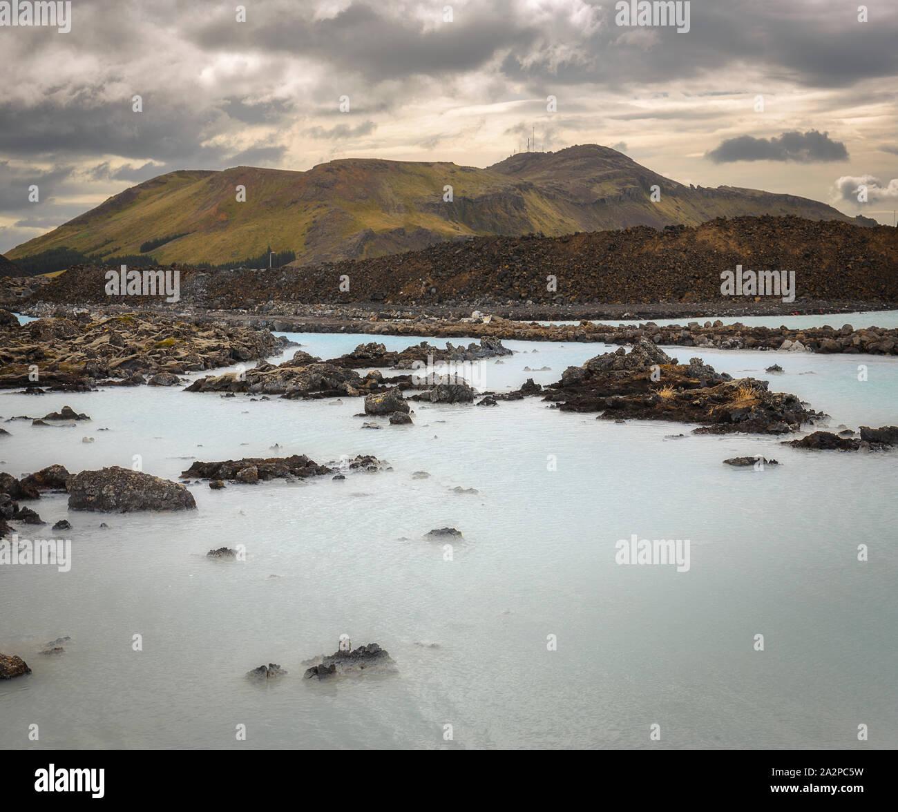 Luz suave en Blue Lagoon, Islandia Foto de stock