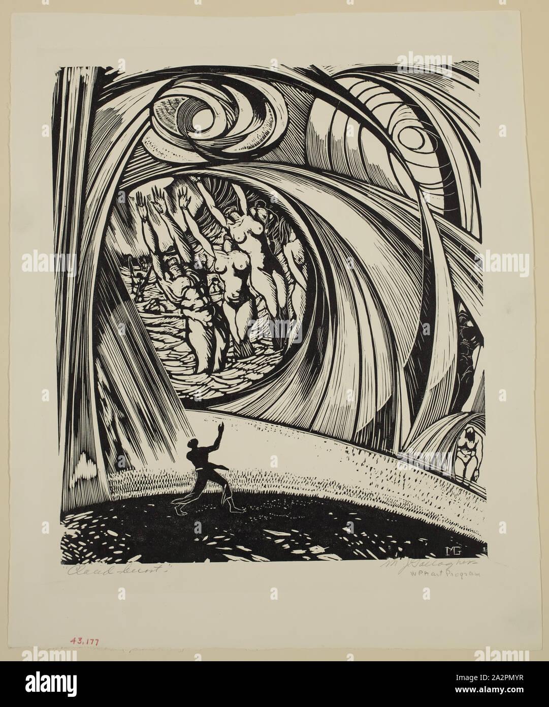 Michael J. Gallagher, Americano, nacido en 1898, Cloud Burst, entre 1934 y 1943, la xilografía impreso en tinta negra sobre papel, tejió imagen: 10 × 9 1/2 pulgadas (26,7 × 22,9 cm Foto de stock