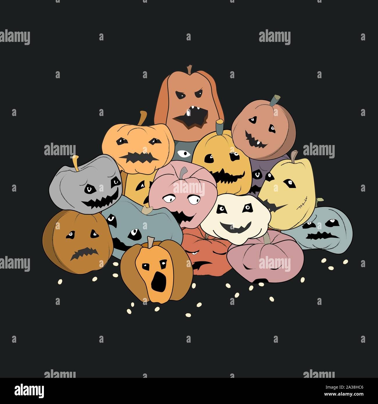 Halloween ilustración vectorial del montón de calabazas talladas con ojos y sonríe con cara differrent expresiones. Diseño plano para halloween Ilustración del Vector