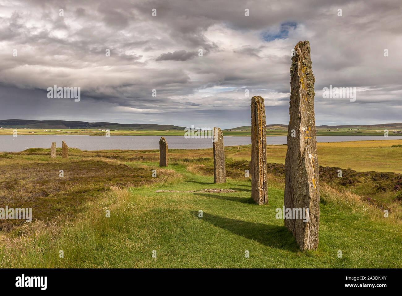 Anillo de Brodgar, Orkney, Escocia. Un círculo de piedra neolítica y henge Foto de stock