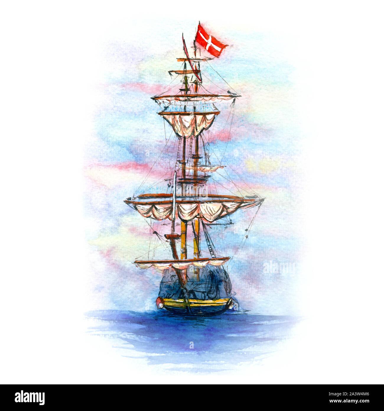 Acuarela de velero danés Foto de stock