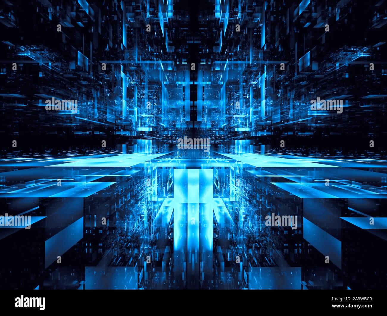 Portal abstracto o futurista - centro de datos generada digitalmente ilustración 3d Foto de stock